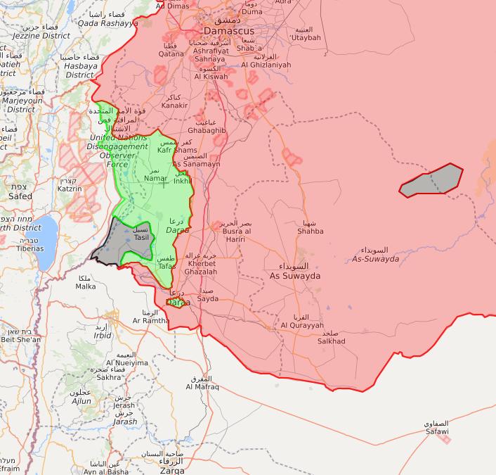 خريطة لمحافظة درعا بعد التقدم الكبير الذي حققته قوات الأسد - 10 من تموز 2018 (lm)