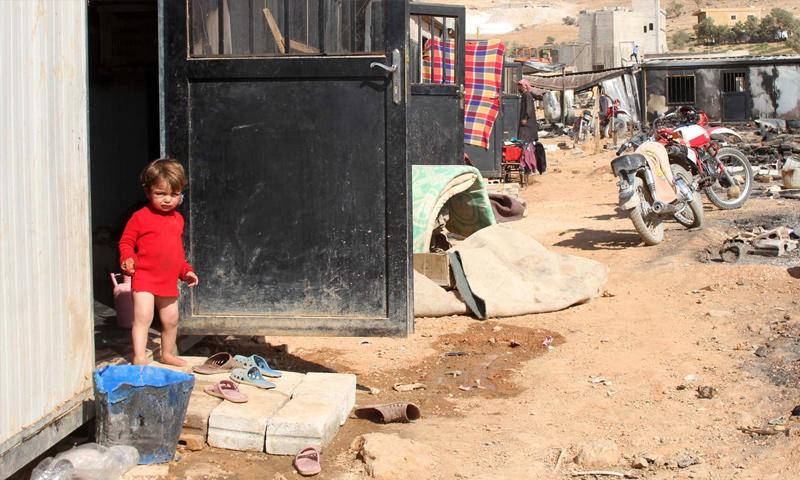 مخيم للاجئين السوريين في بلدة عرسال اللبنانية (جنوبية)