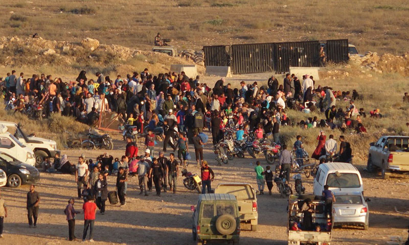 نزوح-المدنيين-في-درعا-على-الحدود-الاردنية-حزيران-2018-(توتير)