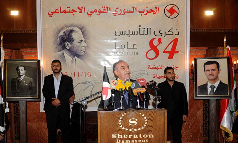 علي قانصوه خلال الاحتفال بذكرى تأسيس الحزب شيراتون دمشق 2016 (سانا)