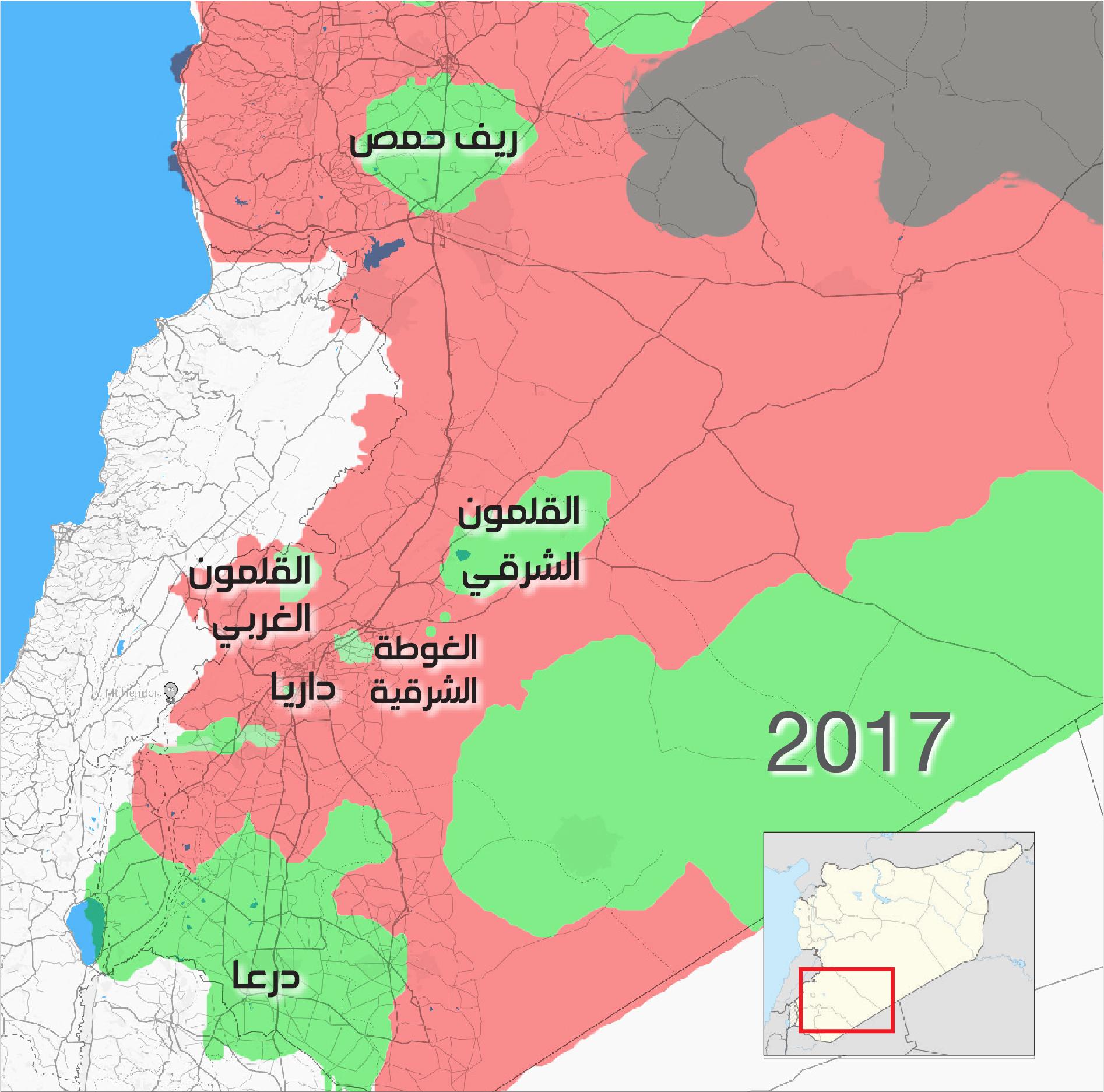 خريطة السيطرة الميدانية في سوريا قبل بدء جولات أستانة تظهر المناطق التي كانت بيد المعارضة آنذاك باللون الأخضر (عنب بلدي)