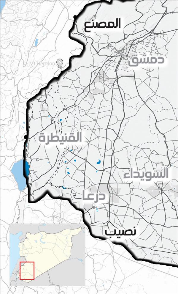 أرقام عن الواقع الاقتصادي في الأردن خريطة توضخ المعابر الحدودية جنوبي سوريا (عنب بلدي)