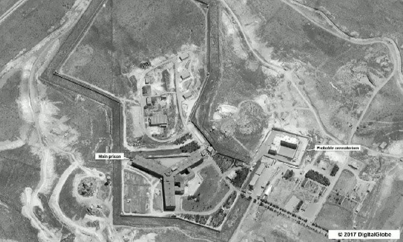 صورة جوية لسجن صيدنايا العسكري في ريف دمشق ((StateDepartment/DigitalGlobe/Reuters))