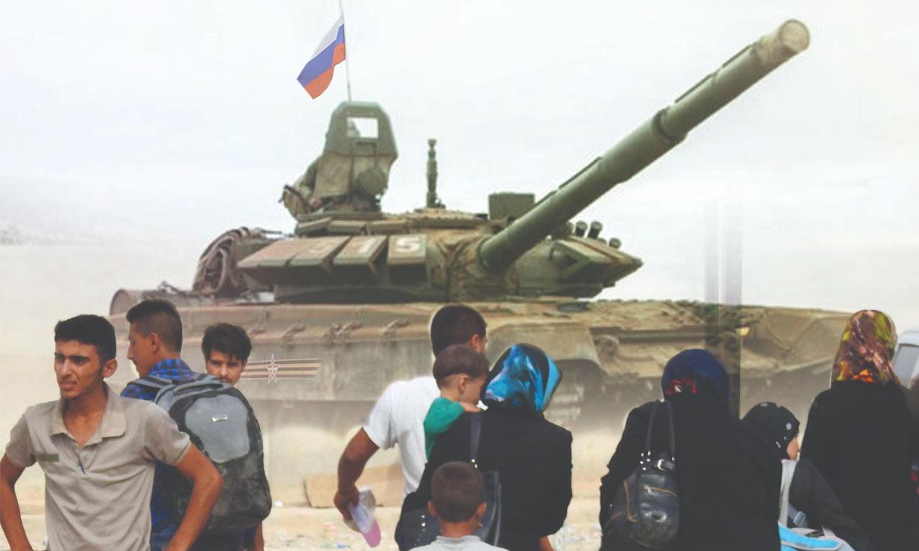 تعبيرية للاجئين سوريين ودبابة روسية (تعديل عنب بلدي)