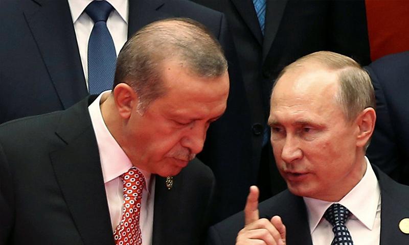 الرئيسان التركي والروسي رجب طيب أردوغان وفلاديمير بوتين - (رويترز)