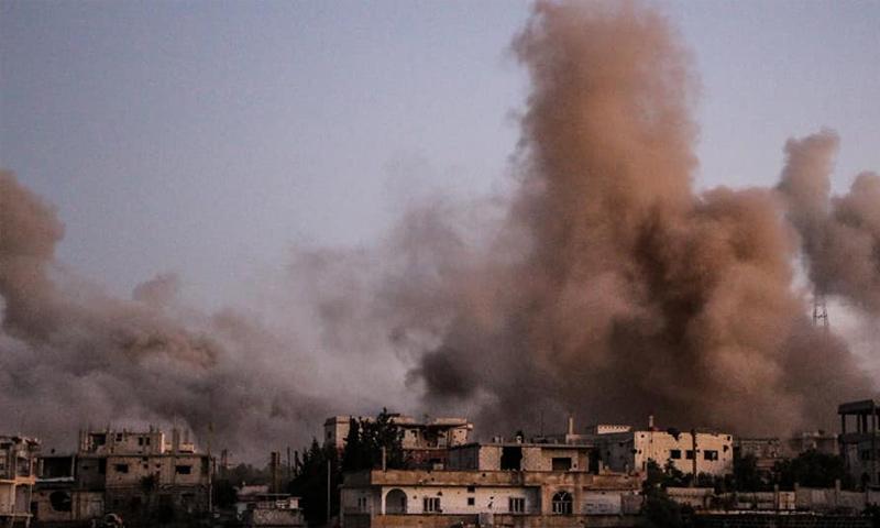 آثار قصف صواريخ أرض أرض على أحياء درعا البلد - 6 من تموز 2018 (الدفاع المدني)