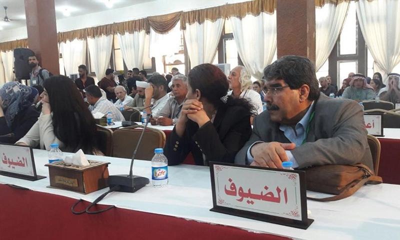 الرئيس السابق لحزب الاتحاد الديمقراطي صالح مسلم في أثناء حضوره للمؤتمر الثالث لقسد - 16 من تموز 2018 (في بوك)