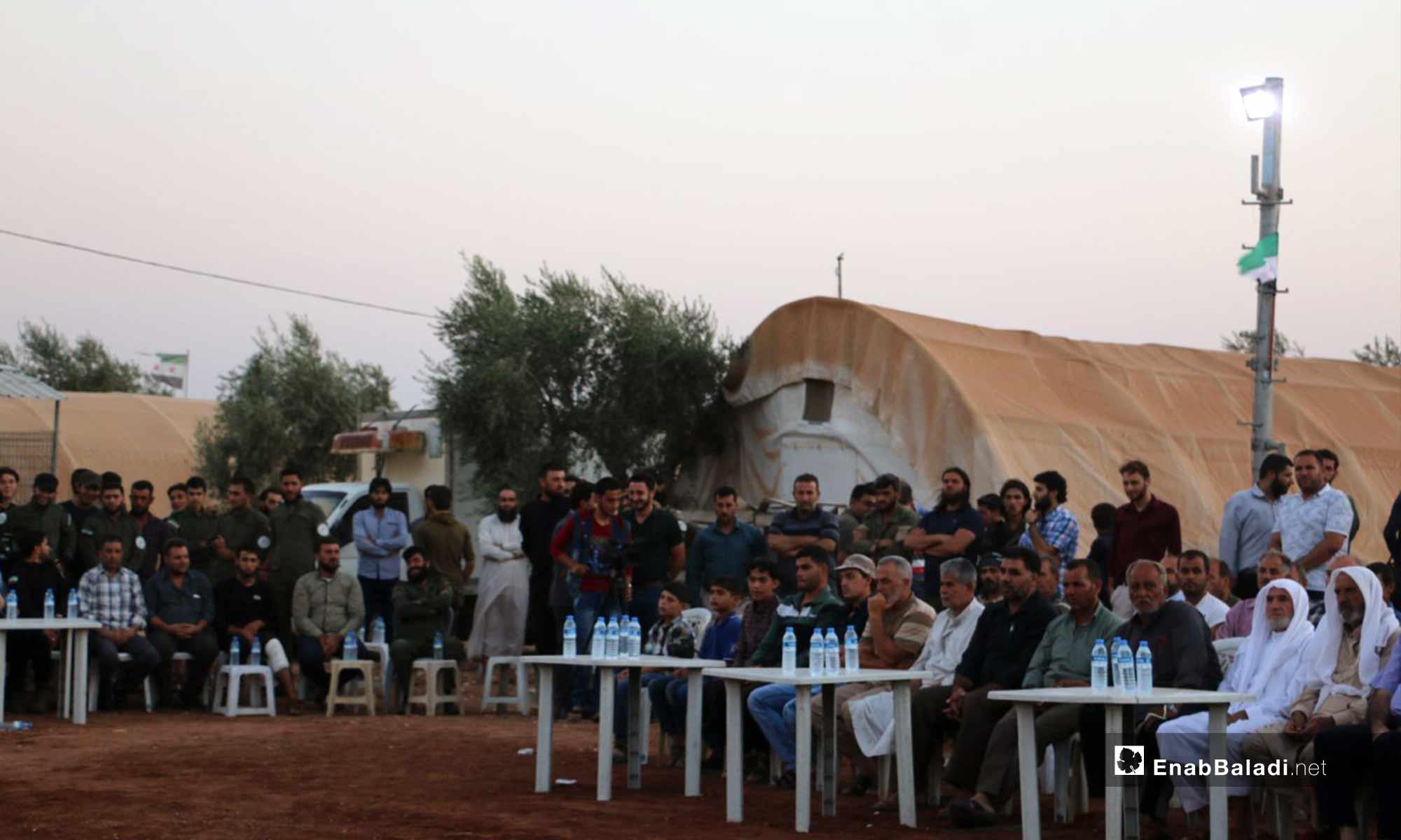 حفل تكريم لمقاتلين في الجيش السوري الحر حصلوا على الشهادة الثانوية بدرجات عالية في ريف حلب الشمالي - 2 من آب 2018 (عنب بلدي)