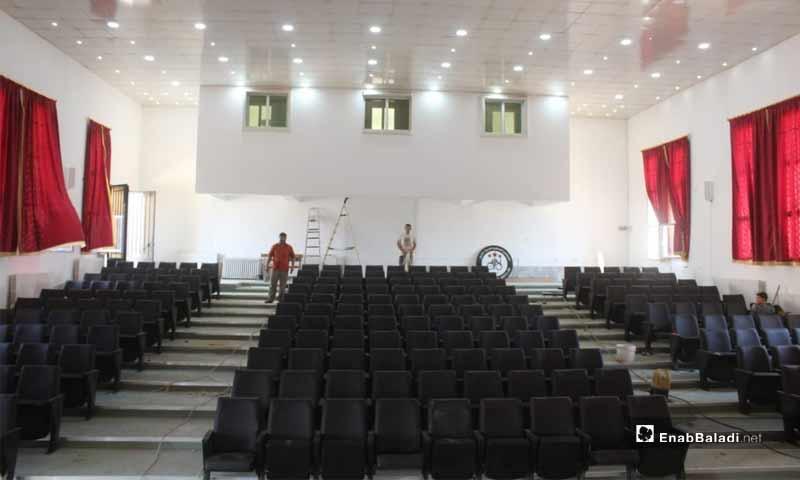 ترميم مدرج المركز الثقافي العربي في اخترين شمالي حلب (عنب بلدي)
