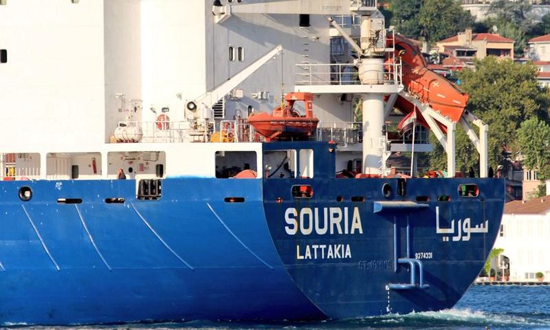 سفينة سوريا في أثناء عبورها من مضيق البوسفور - 3 من آب 2018 (مرصد البوسفور)