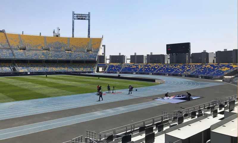 تحضيرات ملعب ابن بطوطة في طنجة المغربية لاستضافة نهائي السوبر الإسباني (موقع الاتحاد الإسباني)