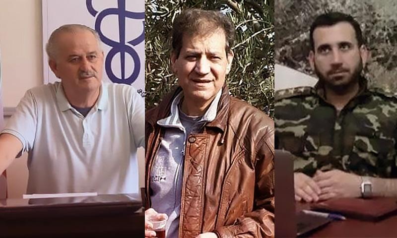 النقيب سعيد نقرش (يمين) الطبيب محمود مطلق (وسط) الطبيب خليل آغا (يسار)