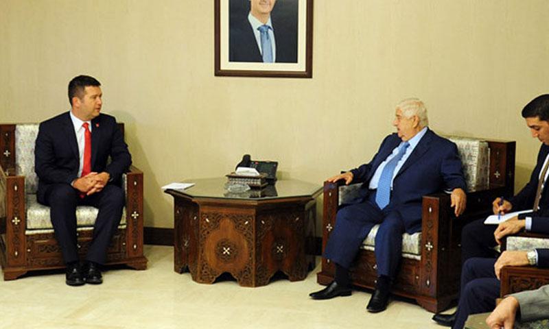 وزير الخارجية التشيكي، يان هاماتشيك في لقاء نظيره السوري وليد المعلم بدمشق 9 آب 2018 (سانا)