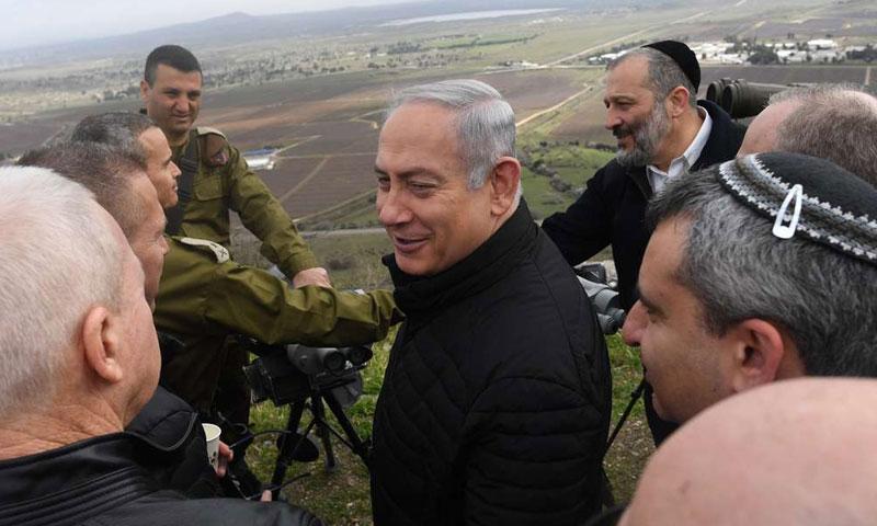 رئيس الوزراء بنيامين نتنياهو وأعضاء مجلس الوزراء الأمني في جولة في الجولان شباط 2018 (The Jewish Chronicle)