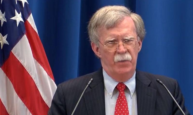 مستشار الأمن القومي الأمريكي، جون بولتون في موسكو 23 آب 2018 (RT)
