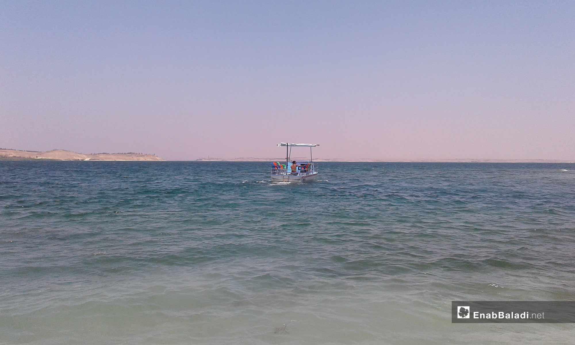 البحيرة الواسعة في مدينة الطبقة بالرقة - 13 من آب 2018 (عنب بلدي)