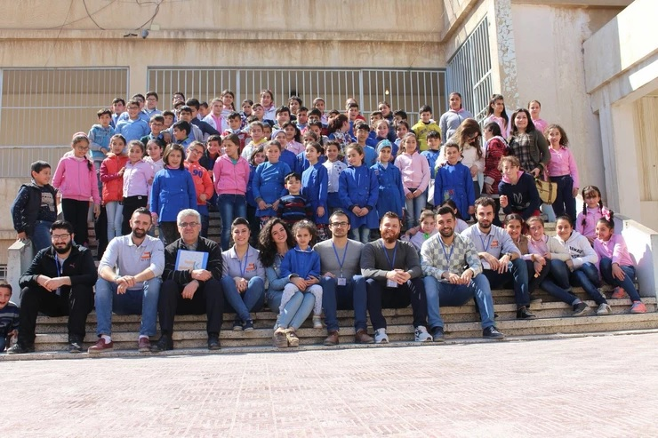طلاب من مدرسة القديس غبريال السريانية الأرثوذكسية في القامشلي.أّذار-2018 (المعهد السياسي السرياني)
