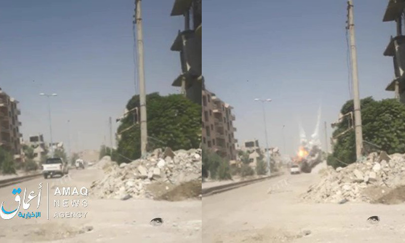 استهداف آلية لقوات سوريا الديمقراطية في مدينة الرقة من قبل تنظيم الدولة - 21 من آب 2018 (أعماق)