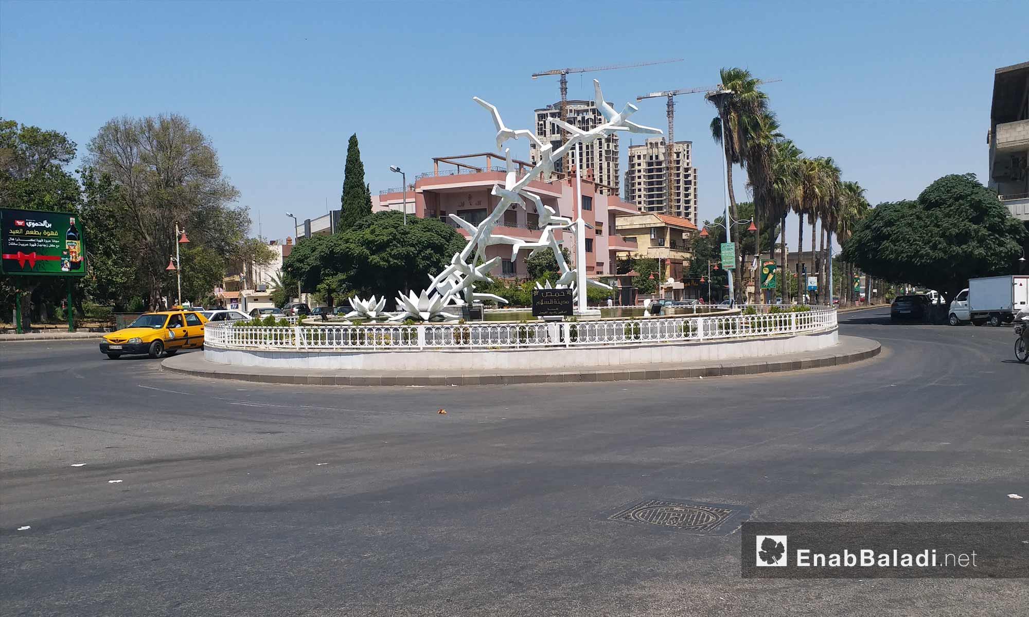دوار الحمرا وسط مدينة حمص - 19 من آب 2018 (عنب بلدي)