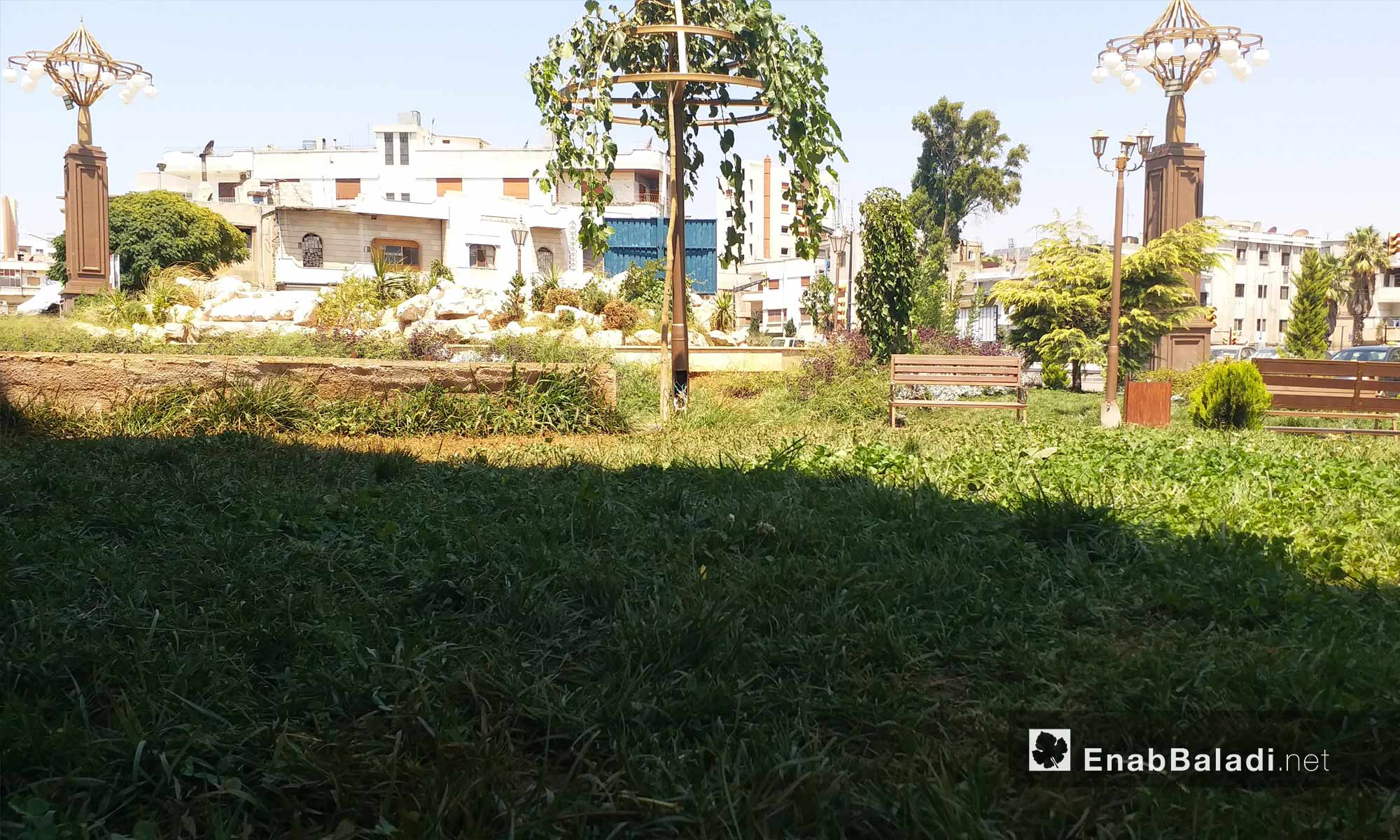 حديقة الياسمين في حي الدبلان بمدينة حمص - 19 من آب 2018 (عنب بلدي)