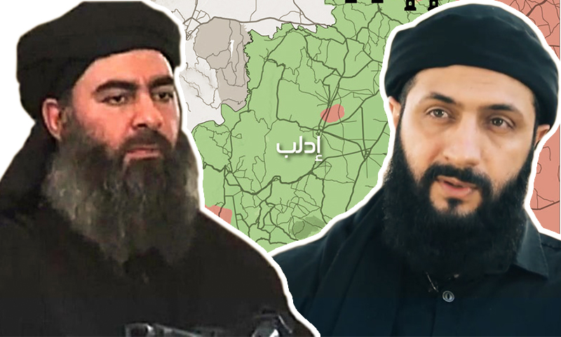 """زعيم """"هيئة تحرير الشام"""" أبو محمد الجولاني وزعيم تنظيم """"الدولة الإسلامية"""" أبو بكر البغدادي (تعديل عنب بلدي)"""