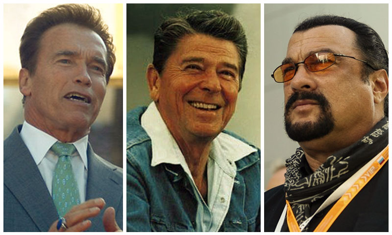 ستيفن سيغال، رونالد ريغان، أرنولد شوارزينيغر (تعديل عنب بلدي)