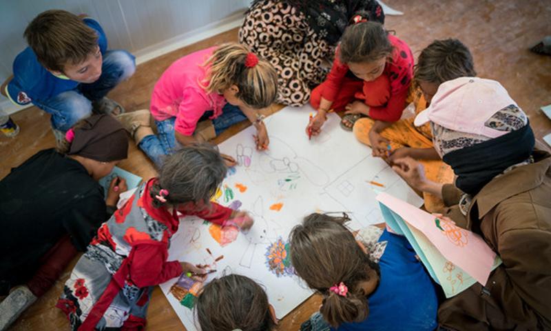 """أطفال سوريون في مركز """"مكاني""""- (يونيسف)"""