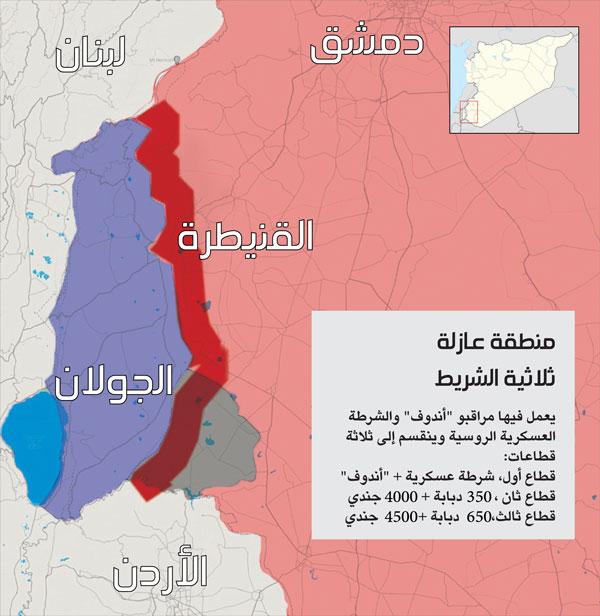 خريطة توضح المنطقة العازلة بطول 80 كم على حدود الجولان المحتل (عنب بلدي)
