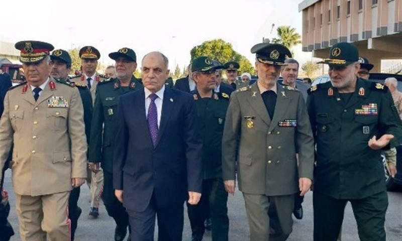 وفد عسكري إيراني في أثناء وصوله إلى العاصمة دمشق - (تسنيم)