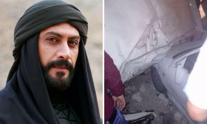 الممثل الراحل ياسر المصري وصورة من موقع الحادث (تعديل عنب بلدي)