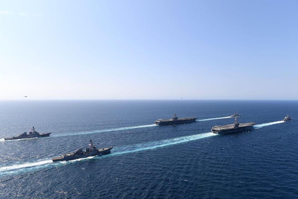 المدمرة هاري ترومان مع مجموعات من الطرادات الحربية الأمريكية في البحر المتوسط - 31 من آب 2018 (هاري ترومان)