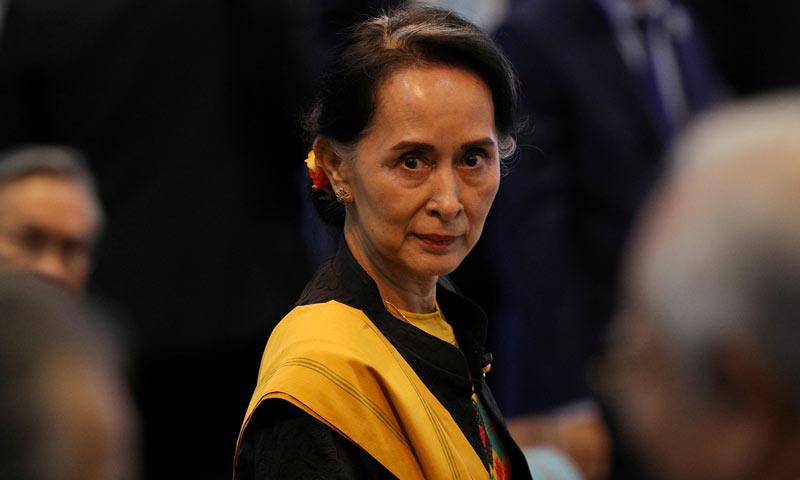مستشارة الدولة في ميانمار أونغ سان سو تشي تحضر الجلسة الافتتاحية لقمة آسيان الـ31 في مانيلا الفيليبين - 3 أيلول 2018 (رويترز)