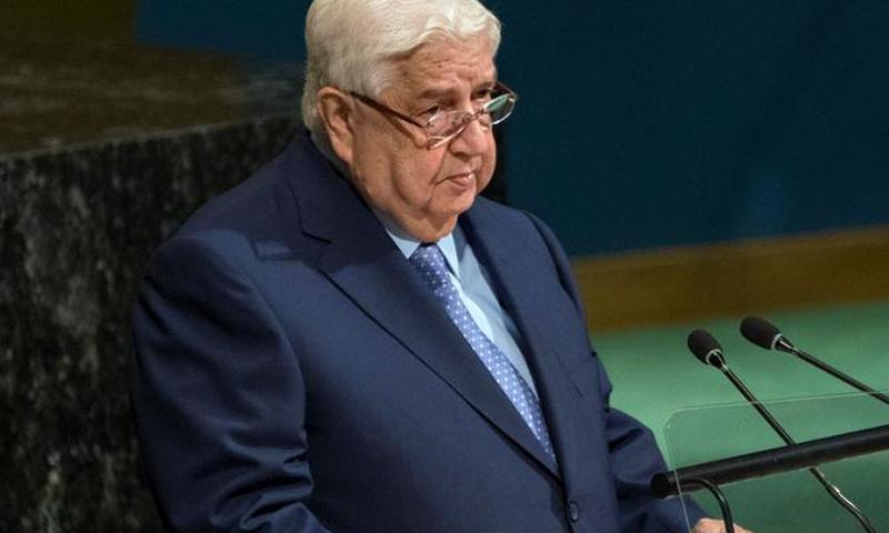 وزير خارجية النظام السوري وليد المعلم خلال كلمة له في اجتماعات الجمعية العامة في الأمم المتحدة - 29 من أيلول 2018 (وكالات)