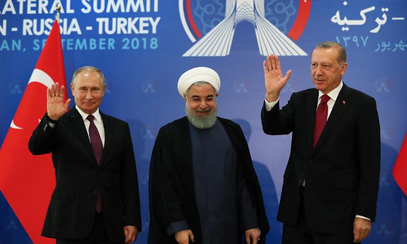 الرؤساء رجب طيب اردوغان وحسن روحاني وفلاديمير بوتين- 7 أيلول 2018 (رويترز)