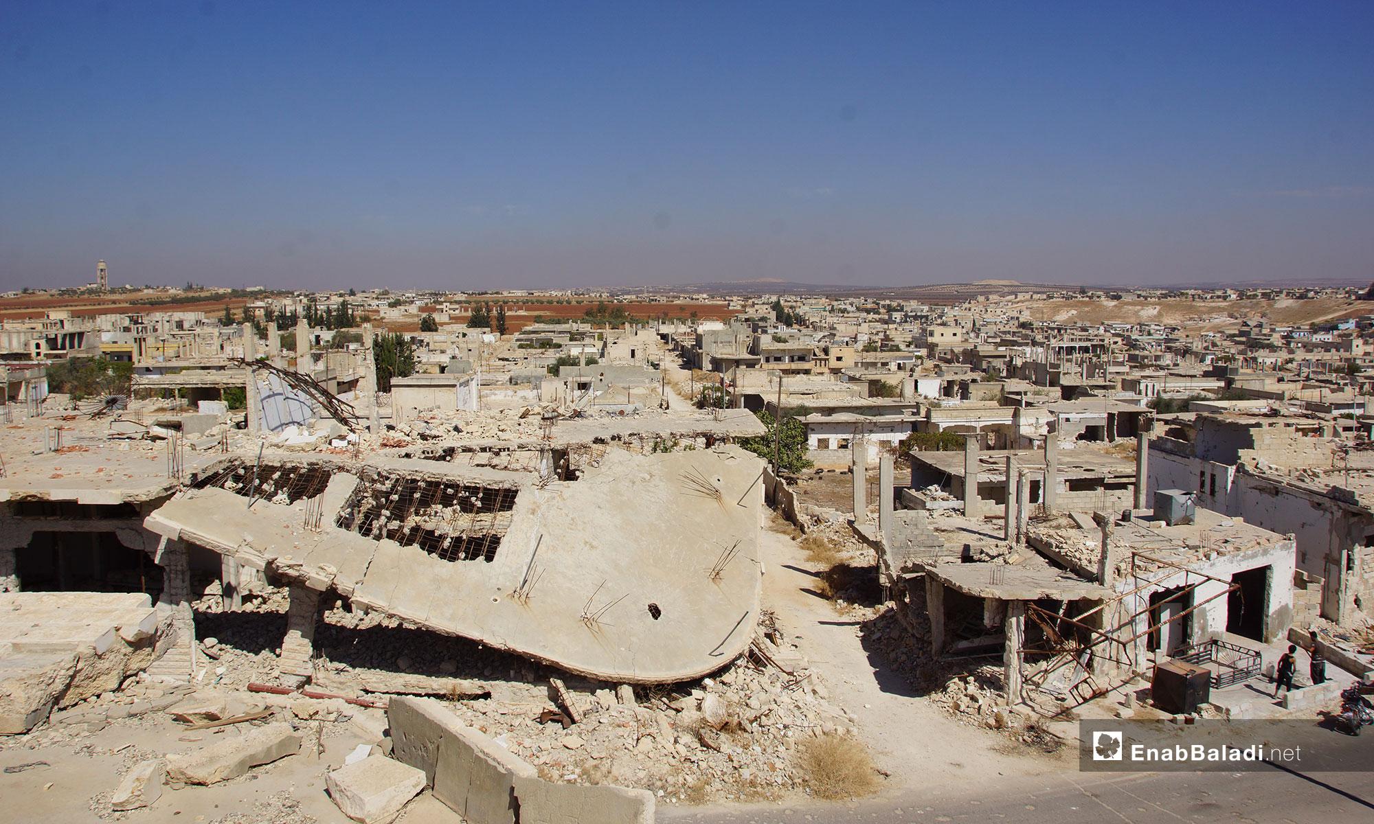 مدينة اللطامنة بعد عودة الأهالي إليها في ريف حماة الشمالي - 25 من أيلول 2018 (عنب بلدي)
