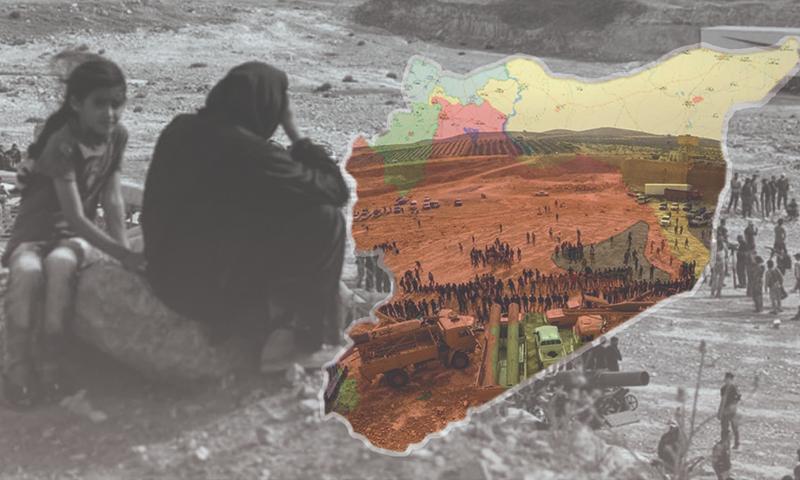 امرأة تناظر عرضًا عسكريًا لفصائل درعا - 7 حزيران 2018 (تعديل عنب بلدي)