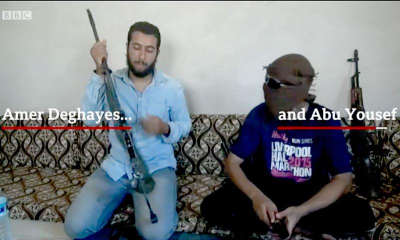 """جهاديان بريطانيان قالت """"BBC"""" إنها قابلتهما في إدلب (BBC)"""
