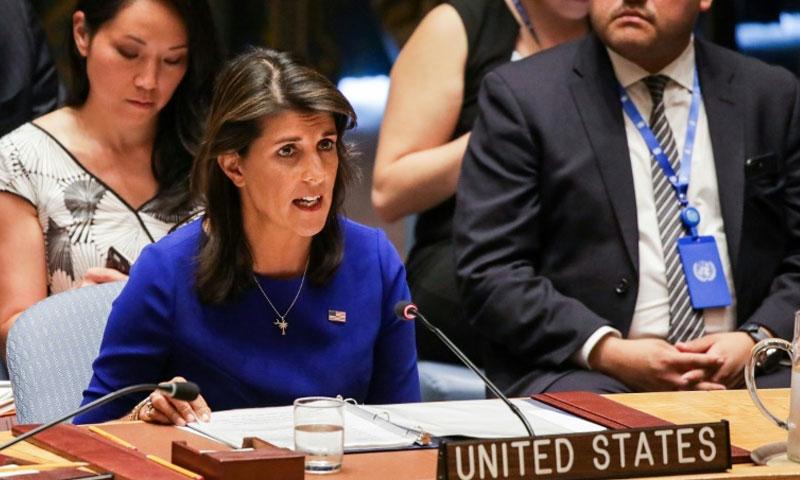 سفيرة الولايات المتحدة لدى الامم المتحدة نيكي هايلي (فرانس برس)