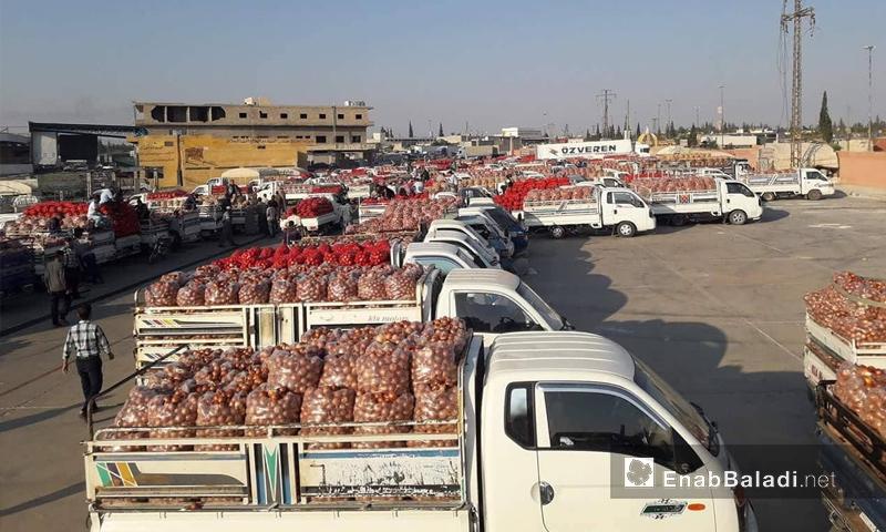 سوق الهال في مدينة الباب بريف حلب الشمالي - 5 من أيلول 2018 (عنب بلدي)