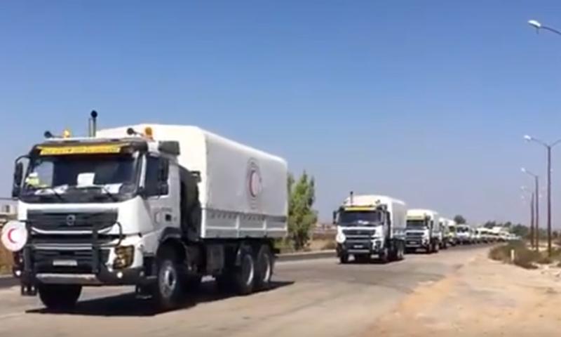 دخول مساعدات برنامج الأغذية العالمي إلى درعا (الهلال الأحمر السوري)