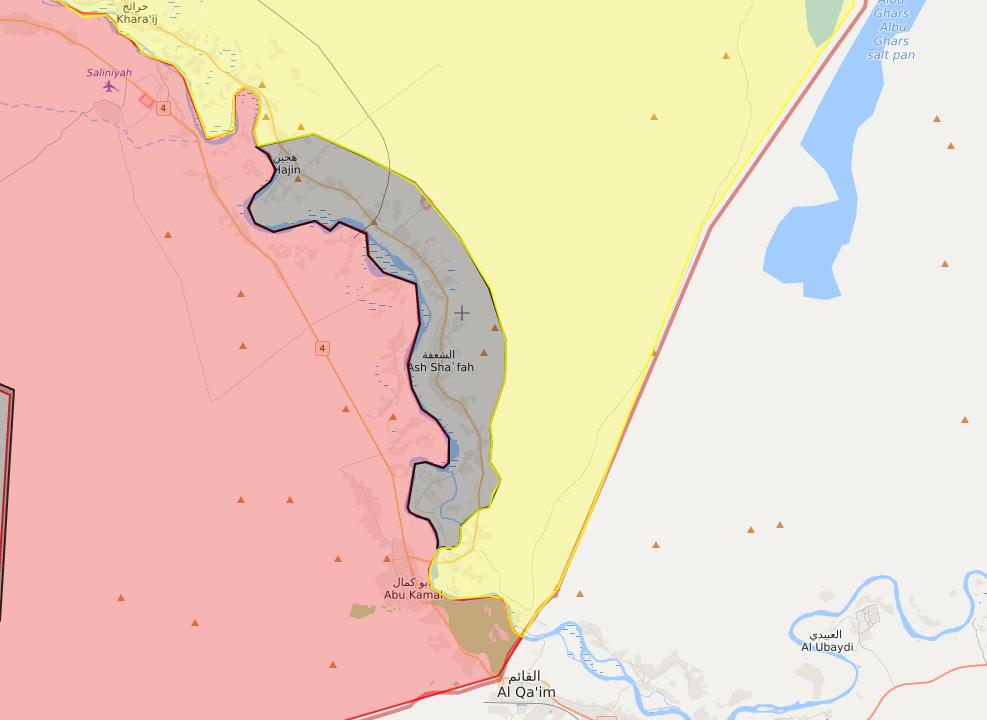 خريطة توضح حدود المعقل الأخير لتنظيم الدولة شرق الفرات - 30 من أيلول 2018 (LM)