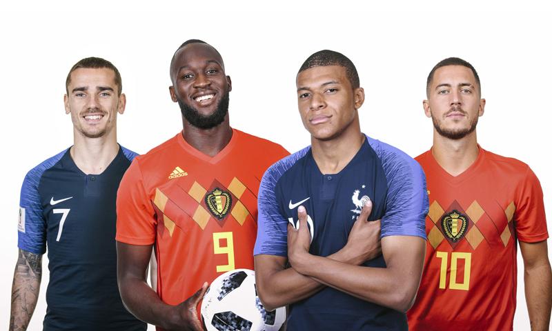 إدين هازارد، لوكاكو لاعبي المنتخب البلجيكي، غريزمان، وامبابي لاعبي المنتخب الفرنسي (فيفا)