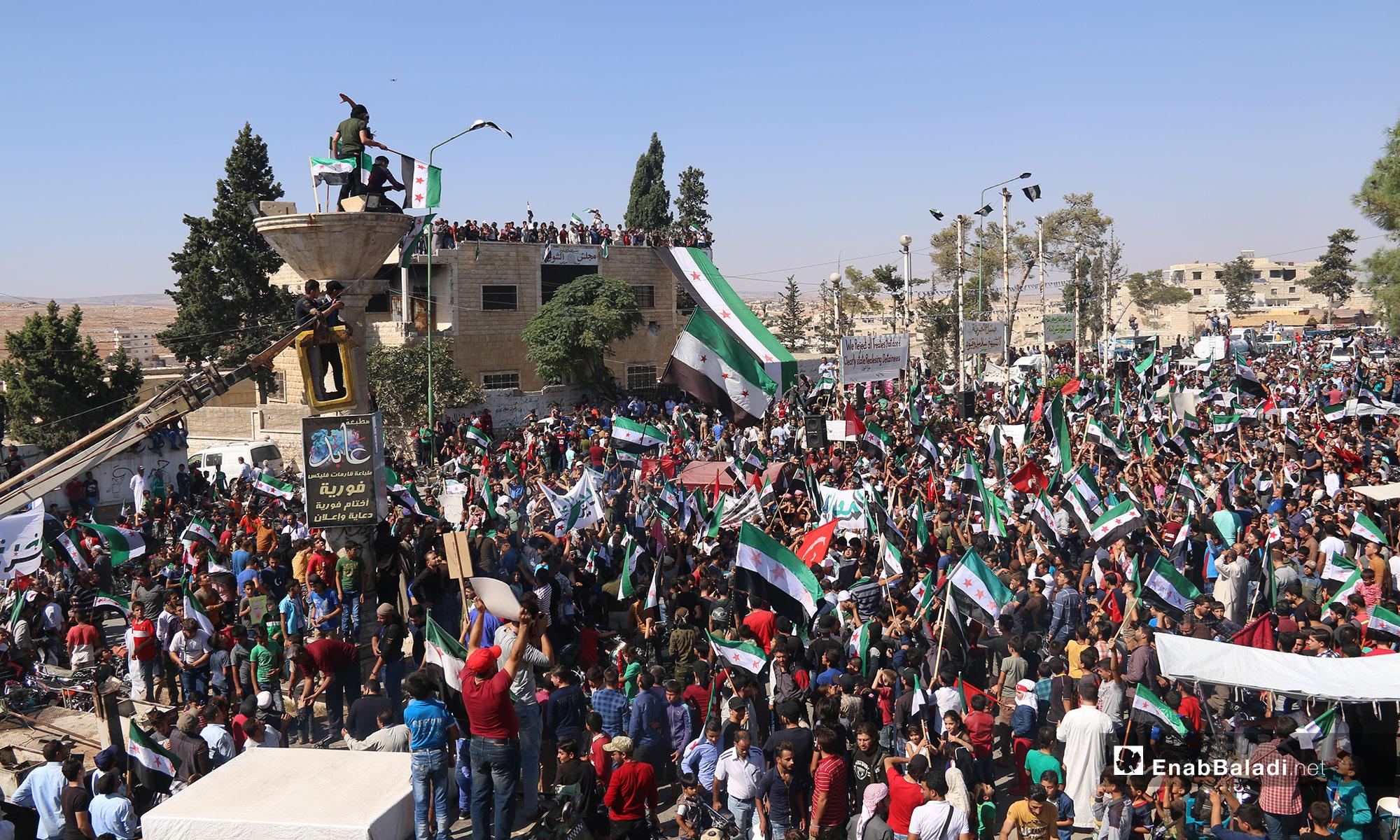 مظاهرات في ريف إدلب تطالب بإخراج المعتقلين من سجون النظام - 28 من أيلول 2018 (عنب بلدي)