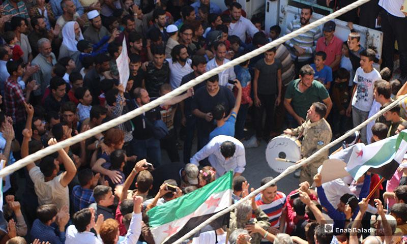 مظاهرات تنادي بأهداف الثورة السورية في مدينة مارع بريف حلب الشمالي - 14 أيلول 2018 (عنب بلدي)