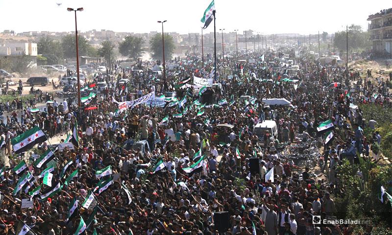 مظاهرات تنادي بأهداف الثورة السورية في مدينة معرة النعمان بريف إدلب - 14 أيلول 2018 (عنب بلدي)