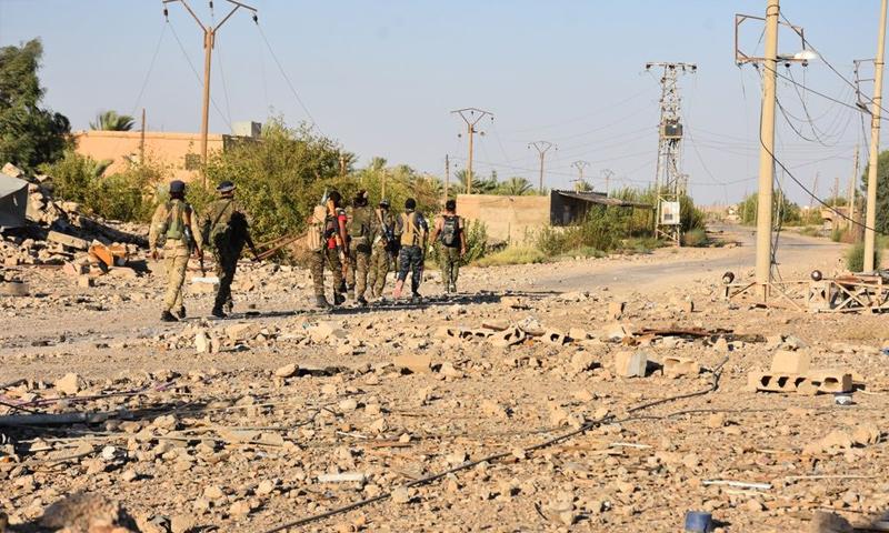 عناصر من قوات سوريا الديمقراطية في أثناء معارك جيب هجين - أيلول 2018 (قسد)