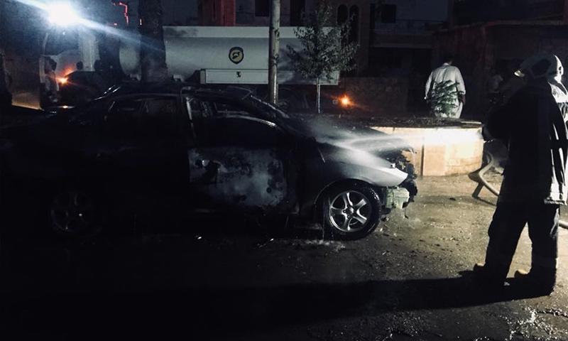 """انفجار عبوة ناسفة في سيارة قيادي في """"هيئة تحرير الشام"""" بسراقب- 1 أيلول 2018 (مركز إدلب الإعلامي)"""