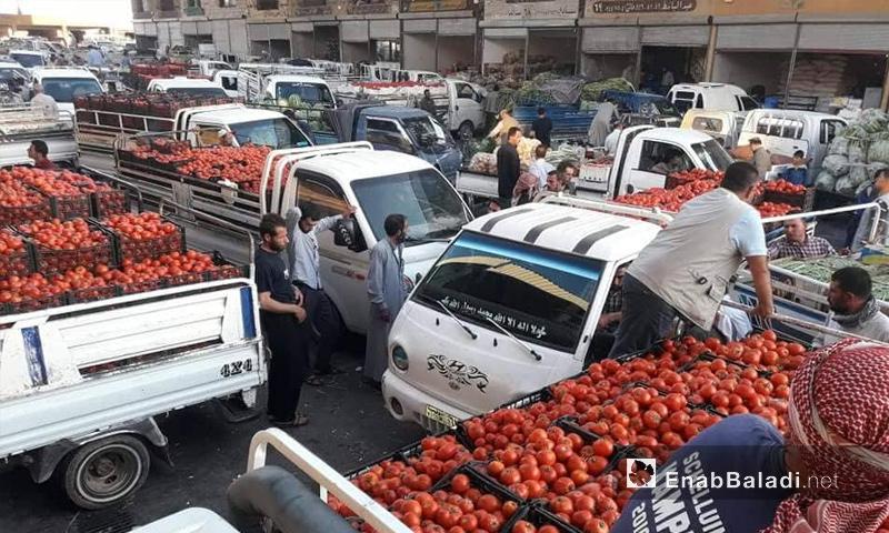 سوق الهال في مدينة الباب بريف حلب الشرقي - 5 من أيلول 2018 (عنب بلدي)