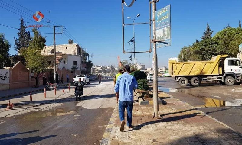 فتح الطرقات أمام المجلس المحلي في اعزاز بريف حلب - 25 من أيلول 2018 (مكتب اعزاز الإعلامي)