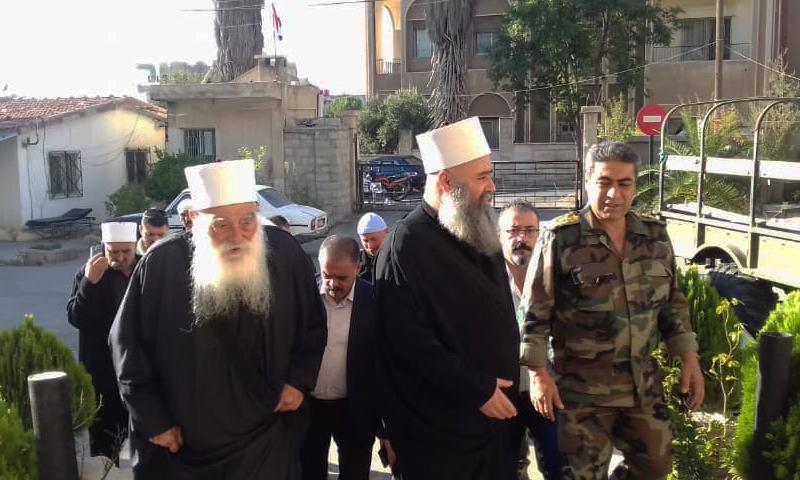 زيارة مشايخ العقل في مدينة السويداء لجرحى قوات الأسد في مشافي المدينة (دار طائفة الدروز الموحدين)